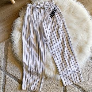 White and black stripe pants with waist tie